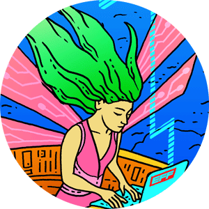 Illustration of a woman with green hair using a laptop